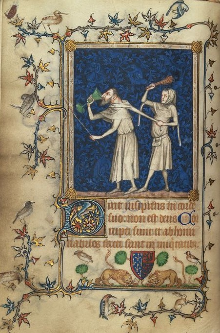 604px-8_Jean_Le_Noir._Two_Fools._Miniature_from_Psalter_of_Bonne_of_Luxemburg_1348-49_Metropolitan_Museum,_N-Y