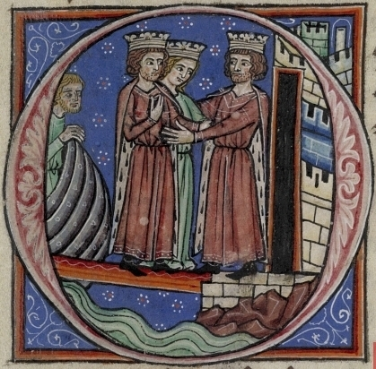 Richard_I_and_Joan_greeting_Philip_Augustus Histoire d'Outremer, British Library